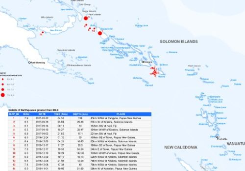 Map of recent Pacific Island earthquakes